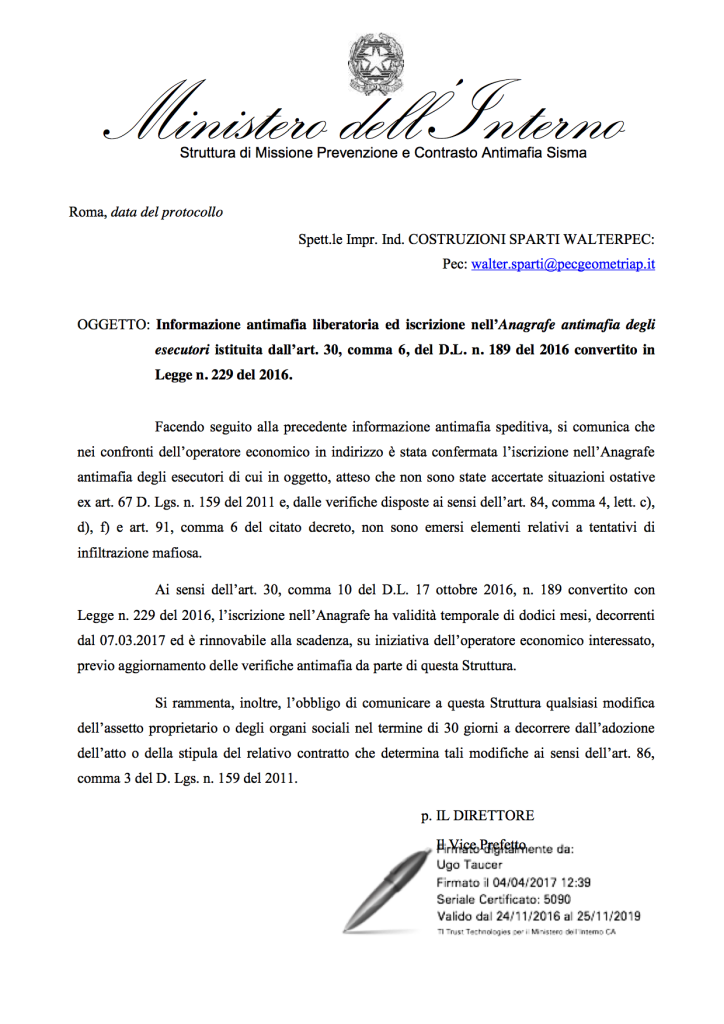 ISCRIZIONE ALBO ESECUTORI CRATERE FINO AL 07-03-2018